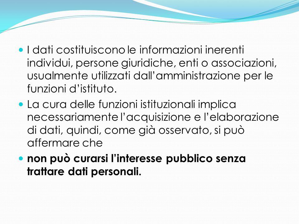 I dati costituiscono le informazioni inerenti individui, persone giuridiche, enti o associazioni, usualmente utilizzati dall'amministrazione per le fu