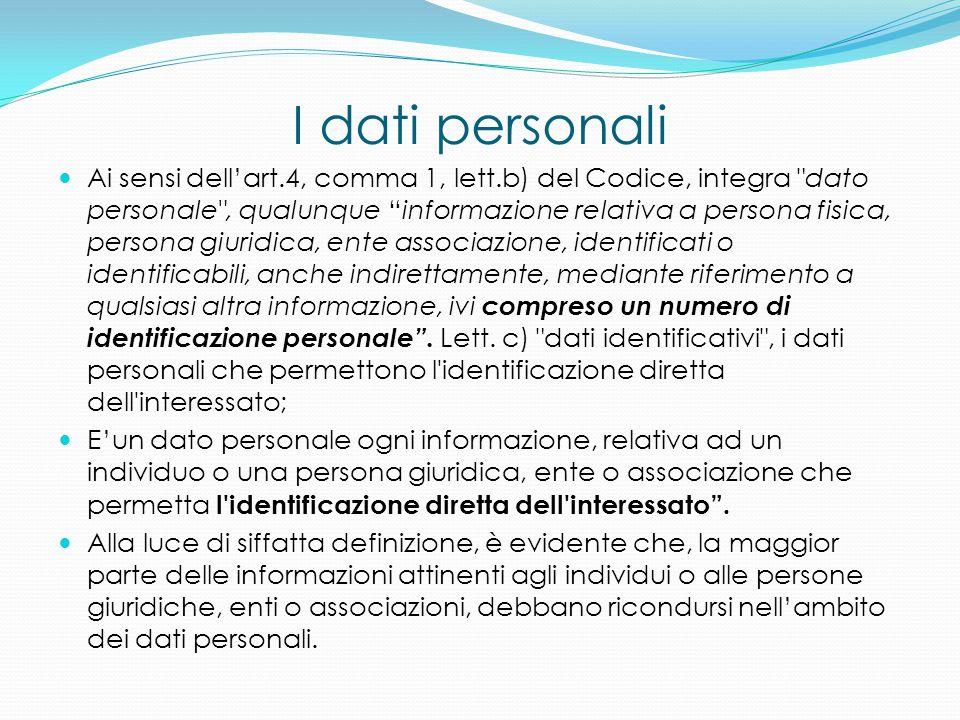 I dati personali Ai sensi dell'art.4, comma 1, lett.b) del Codice, integra