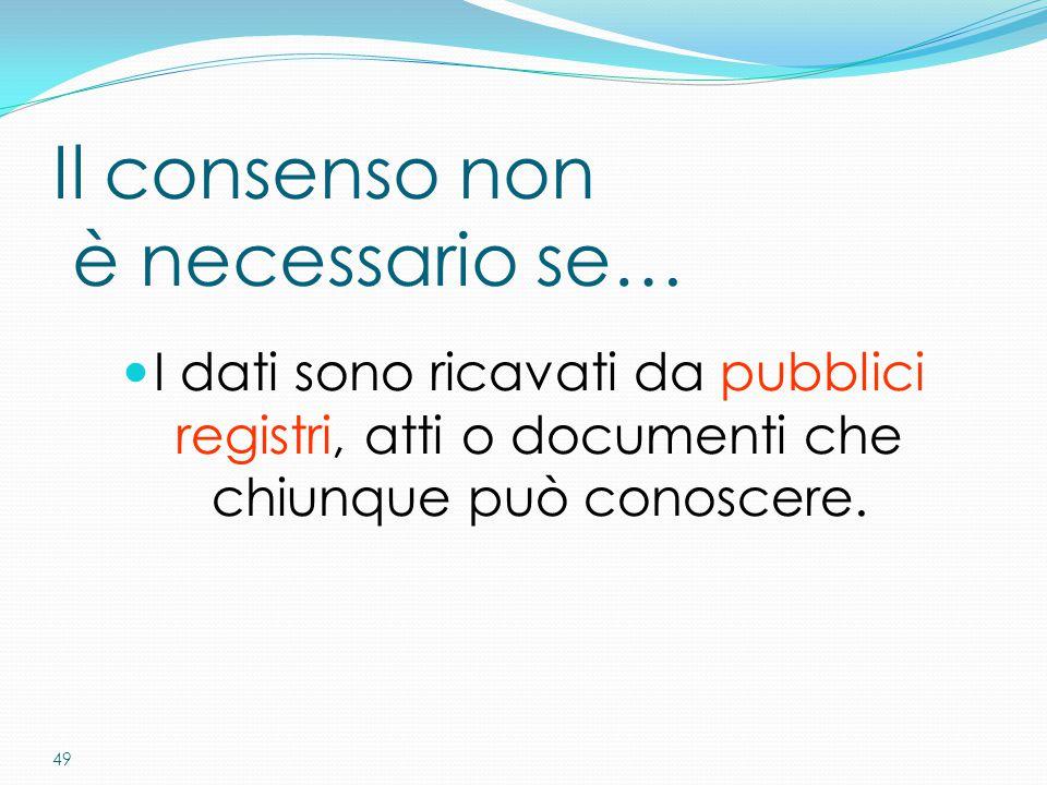 49 Il consenso non è necessario se… I dati sono ricavati da pubblici registri, atti o documenti che chiunque può conoscere.