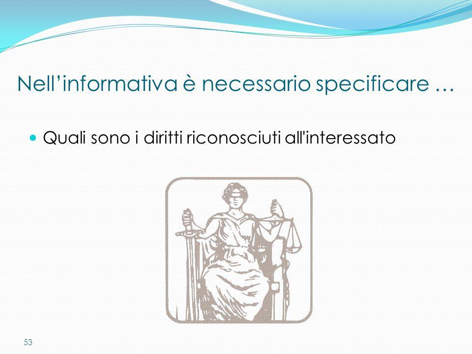 53 Nell'informativa è necessario specificare … Quali sono i diritti riconosciuti all'interessato