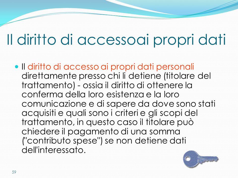 59 Il diritto di accesso ai propri dati personali direttamente presso chi li detiene (titolare del trattamento) - ossia il diritto di ottenere la conf