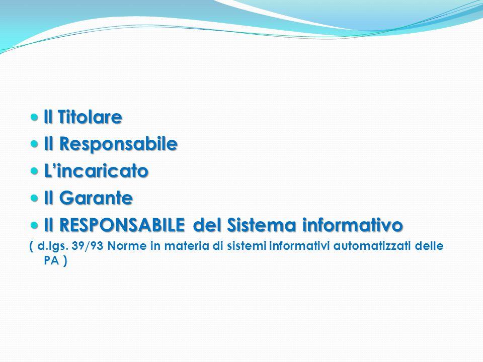 ll Titolare ll Titolare Il Responsabile Il Responsabile L'incaricato L'incaricato Il Garante Il Garante Il RESPONSABILE del Sistema informativo Il RES