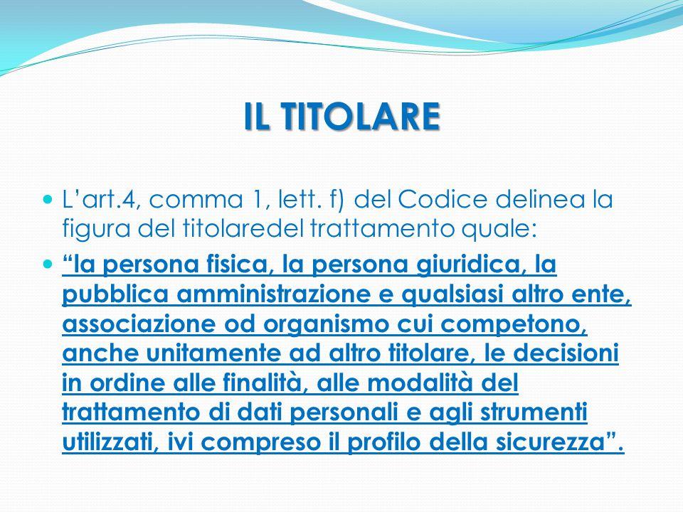 """IL TITOLARE L'art.4, comma 1, lett. f) del Codice delinea la figura del titolaredel trattamento quale: """"la persona fisica, la persona giuridica, la pu"""