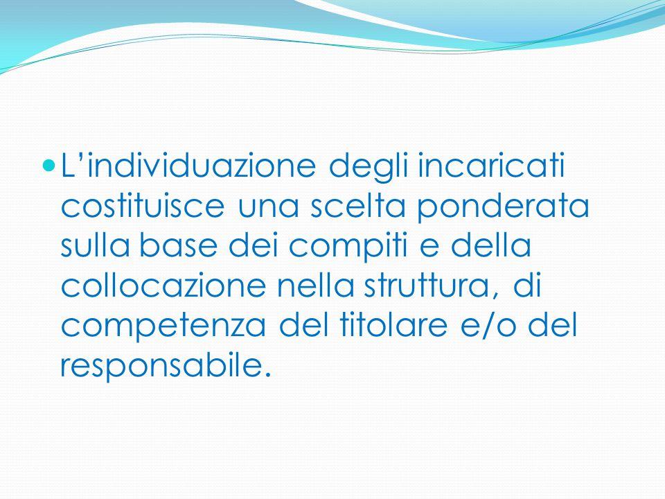 L'individuazione degli incaricati costituisce una scelta ponderata sulla base dei compiti e della collocazione nella struttura, di competenza del tito