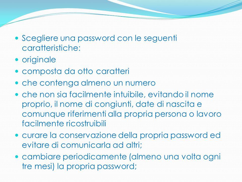 Scegliere una password con le seguenti caratteristiche: originale composta da otto caratteri che contenga almeno un numero che non sia facilmente intu