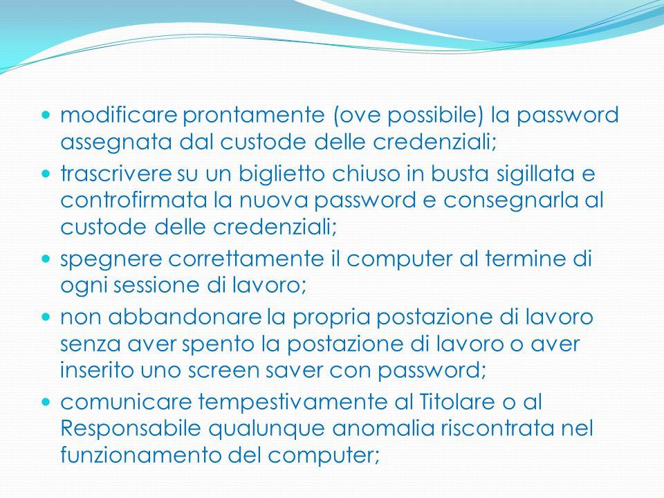 modificare prontamente (ove possibile) la password assegnata dal custode delle credenziali; trascrivere su un biglietto chiuso in busta sigillata e co