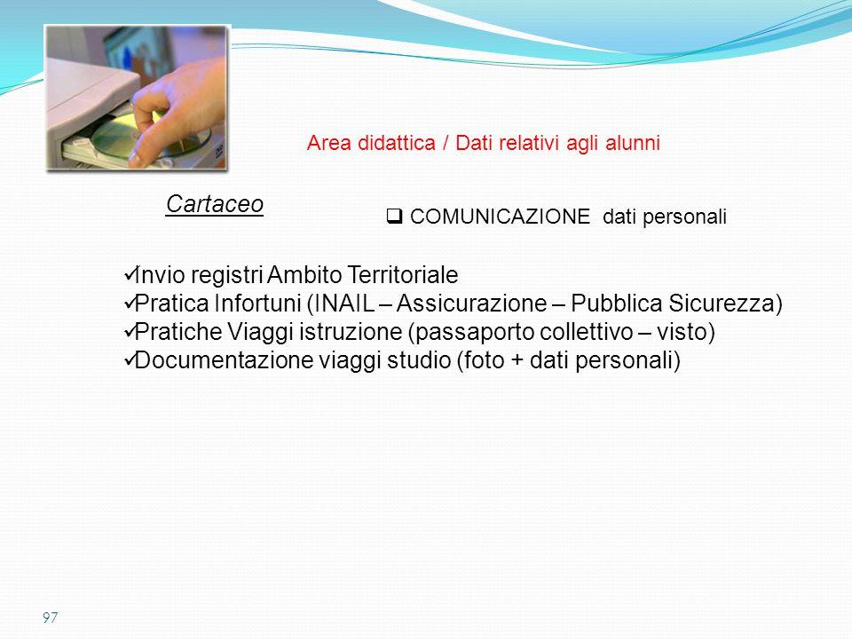 97  COMUNICAZIONE dati personali Cartaceo Invio registri Ambito Territoriale Pratica Infortuni (INAIL – Assicurazione – Pubblica Sicurezza) Pratiche