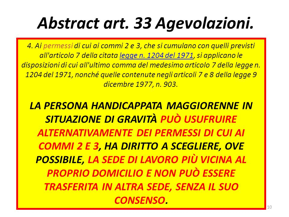 Abstract art.33 Agevolazioni. 4.