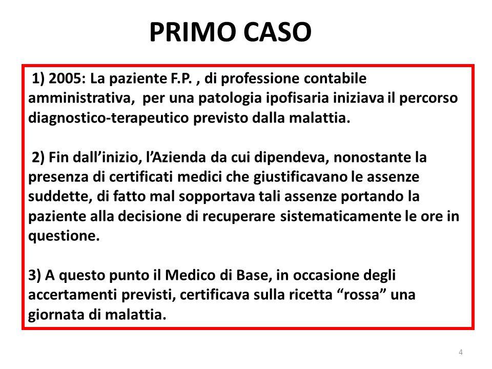 PRIMO CASO 1) 2005: La paziente F.P., di professione contabile amministrativa, per una patologia ipofisaria iniziava il percorso diagnostico-terapeutico previsto dalla malattia.