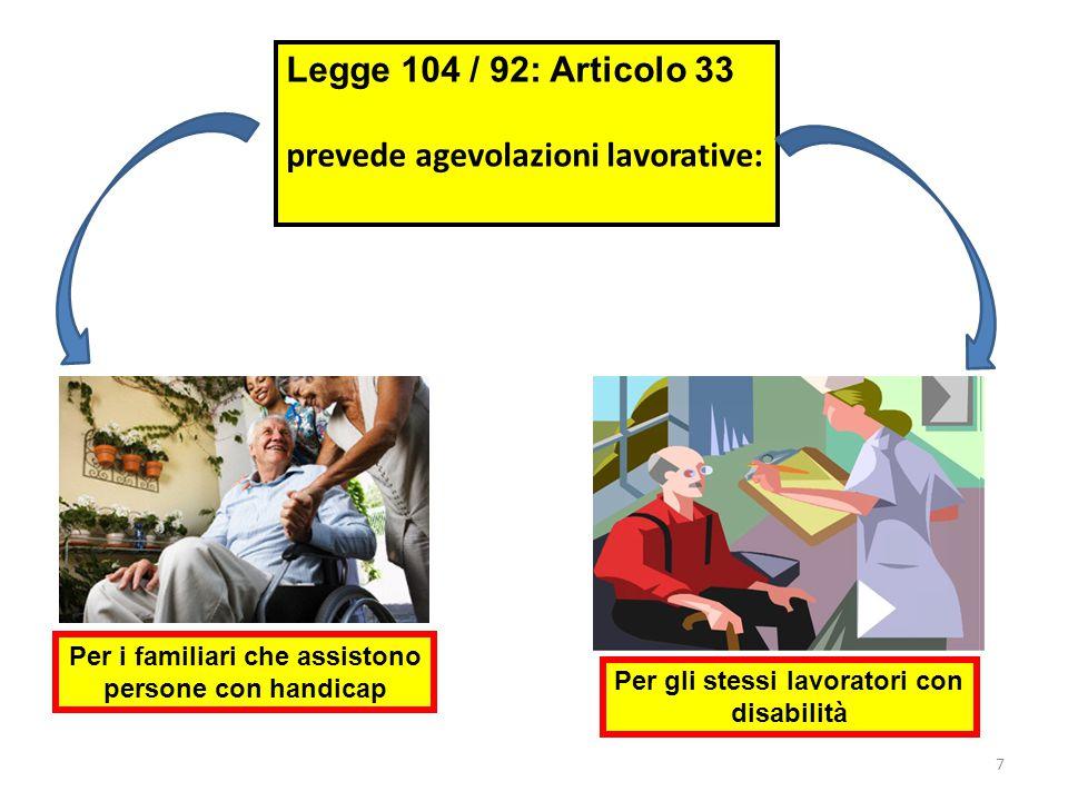 7 Legge 104 / 92: Articolo 33 prevede agevolazioni lavorative: Per i familiari che assistono persone con handicap Per gli stessi lavoratori con disabilità
