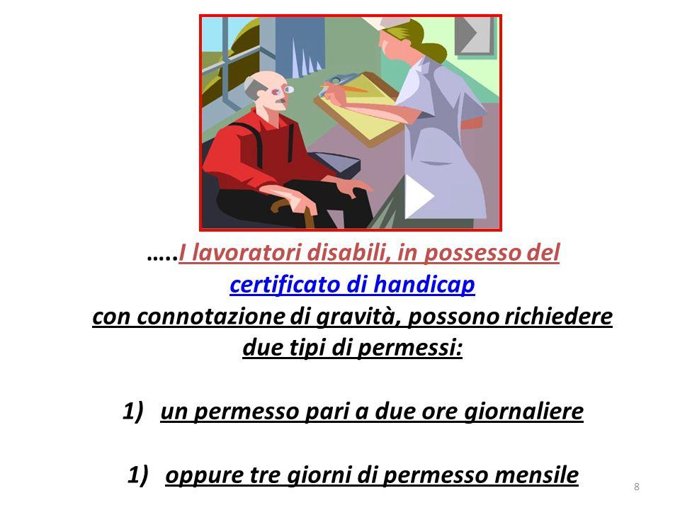 …..I lavoratori disabili, in possesso del certificato di handicap con connotazione di gravità, possono richiedere due tipi di permessi: 1)un permesso pari a due ore giornaliere 1)oppure tre giorni di permesso mensile 8
