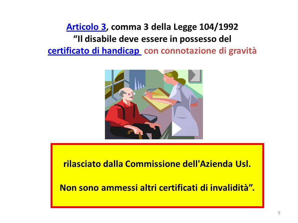 rilasciato dalla Commissione dell Azienda Usl.Non sono ammessi altri certificati di invalidità .