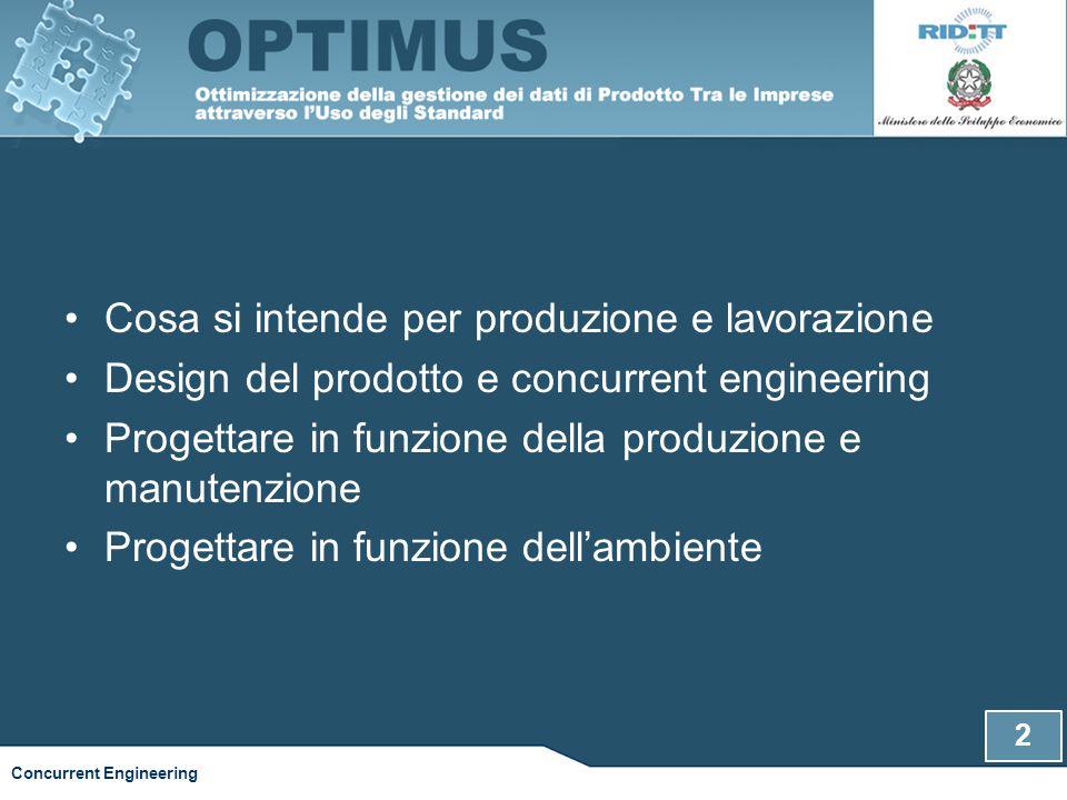 2 Concurrent Engineering Cosa si intende per produzione e lavorazione Design del prodotto e concurrent engineering Progettare in funzione della produz