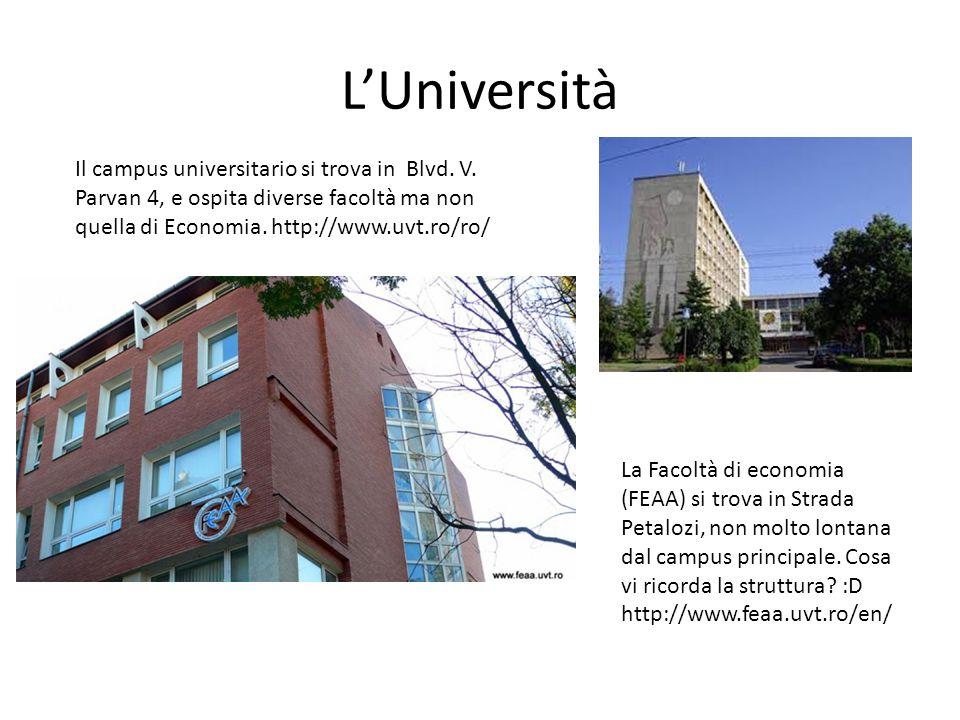 L'Università Il campus universitario si trova in Blvd. V. Parvan 4, e ospita diverse facoltà ma non quella di Economia. http://www.uvt.ro/ro/ La Facol