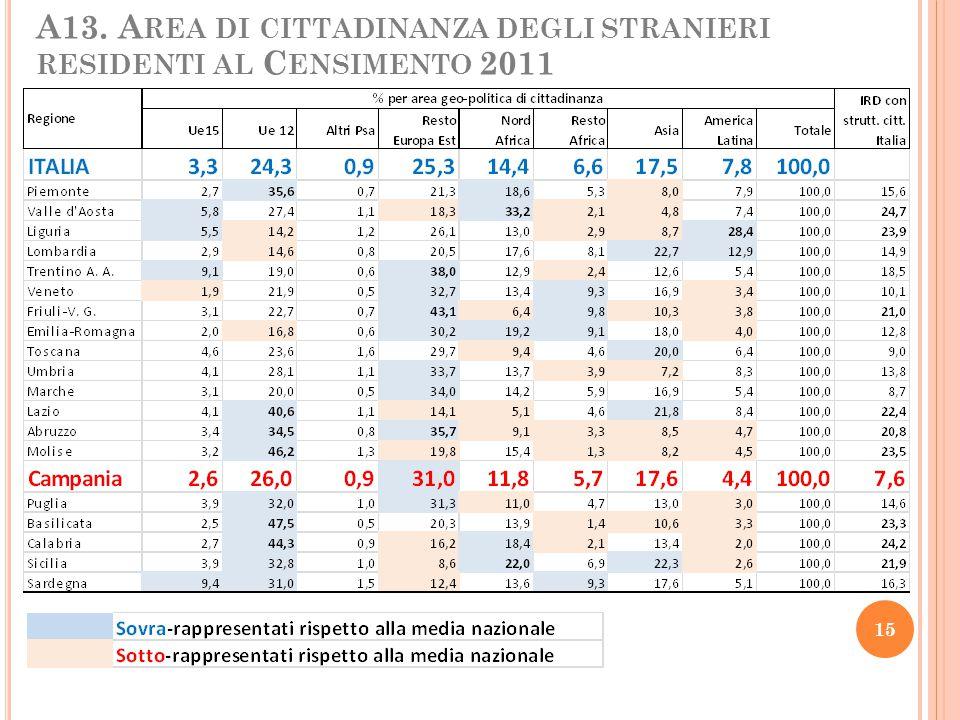 A13. A REA DI CITTADINANZA DEGLI STRANIERI RESIDENTI AL C ENSIMENTO 2011 15