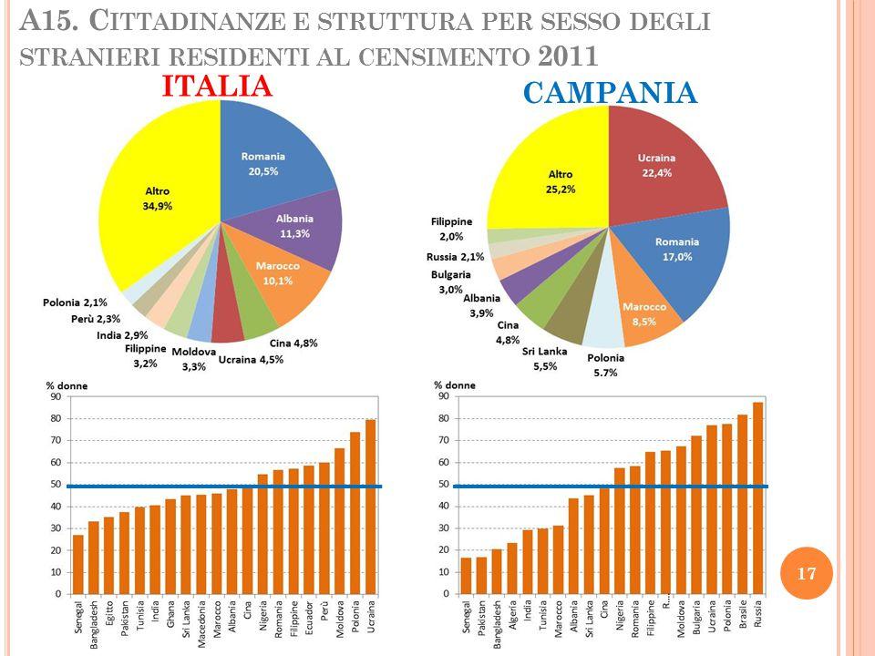 A15. C ITTADINANZE E STRUTTURA PER SESSO DEGLI STRANIERI RESIDENTI AL CENSIMENTO 2011 ITALIA CAMPANIA 17