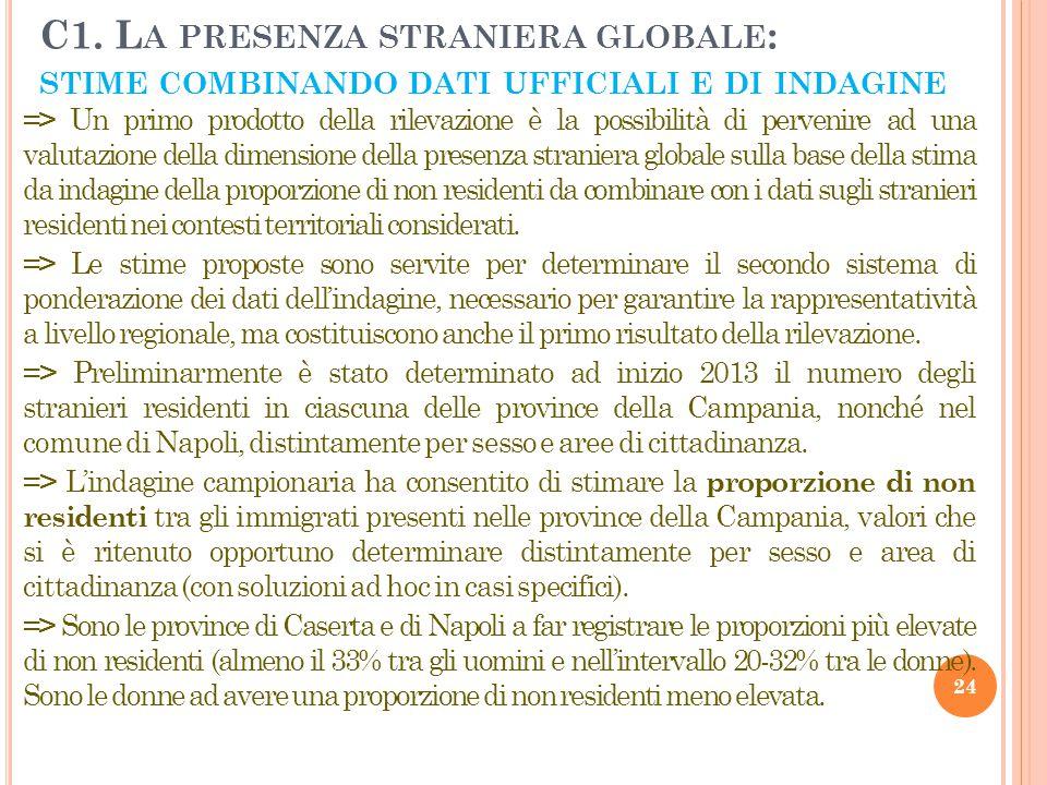 C1. L A PRESENZA STRANIERA GLOBALE : STIME COMBINANDO DATI UFFICIALI E DI INDAGINE 24 => Un primo prodotto della rilevazione è la possibilità di perve
