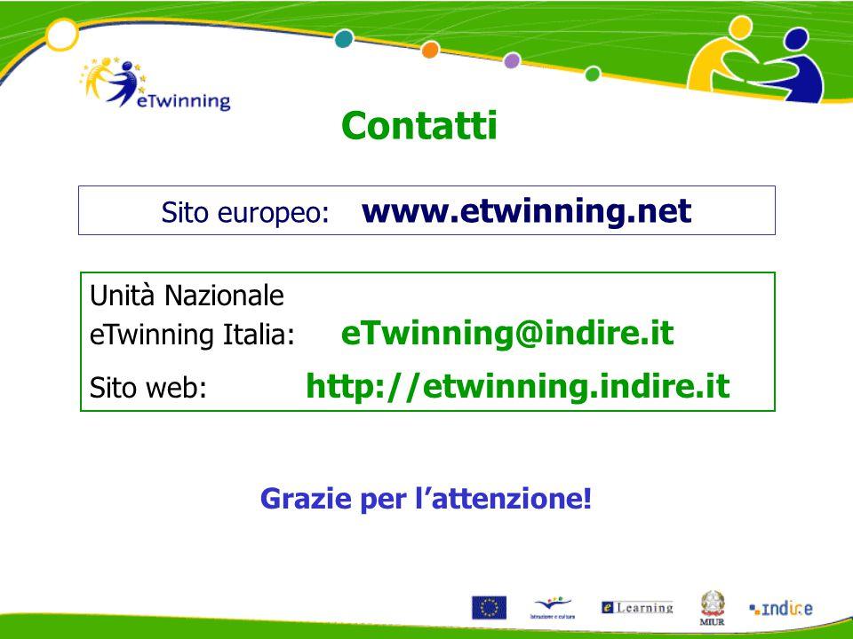Contatti Unità Nazionale eTwinning Italia: eTwinning@indire.it Sito web: http://etwinning.indire.it Sito europeo: www.etwinning.net Grazie per l'attenzione!