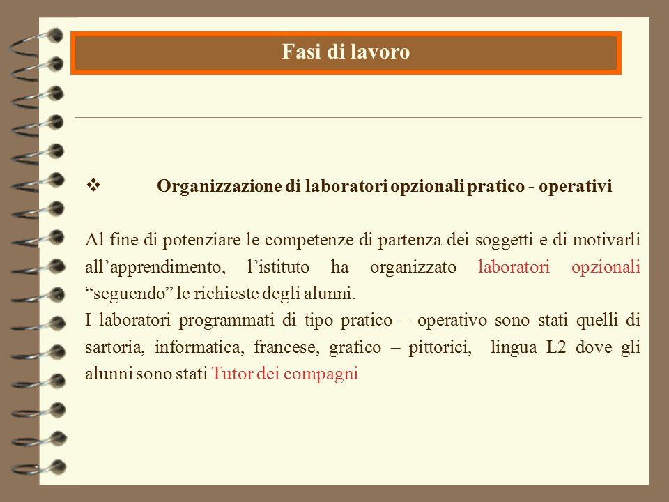  Organizzazione di laboratori opzionali pratico - operativi Al fine di potenziare le competenze di partenza dei soggetti e di motivarli all'apprendim