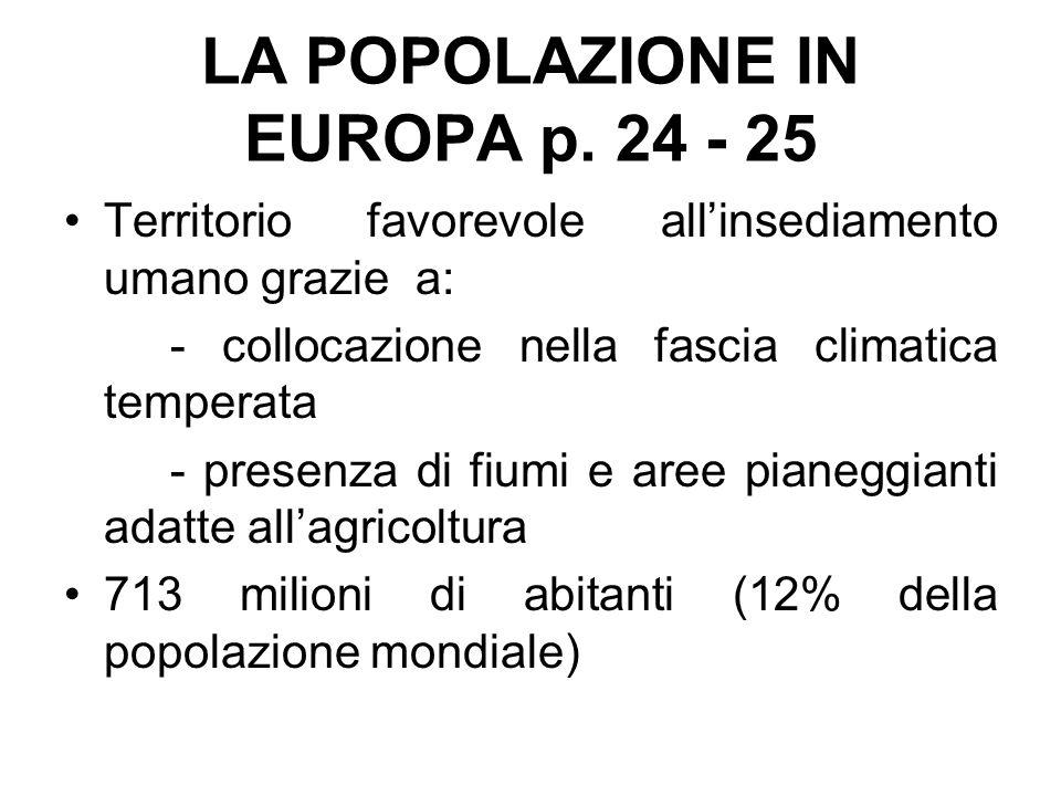 LA POPOLAZIONE IN EUROPA p. 24 - 25 Territorio favorevole all'insediamento umano grazie a: - collocazione nella fascia climatica temperata - presenza