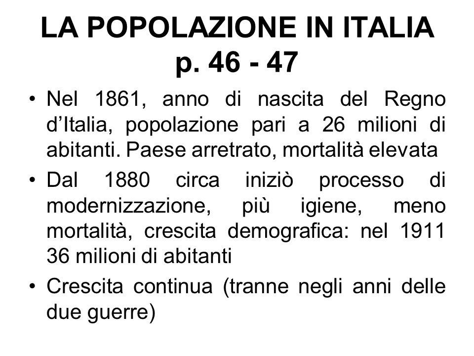 LA POPOLAZIONE IN ITALIA p. 46 - 47 Nel 1861, anno di nascita del Regno d'Italia, popolazione pari a 26 milioni di abitanti. Paese arretrato, mortalit