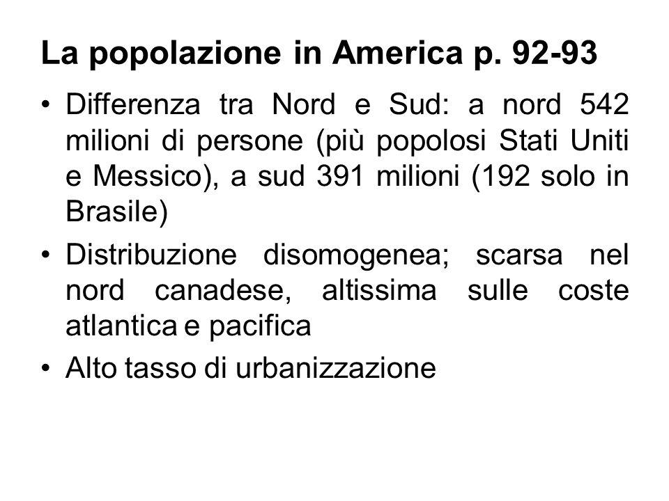 La popolazione in America p. 92-93 Differenza tra Nord e Sud: a nord 542 milioni di persone (più popolosi Stati Uniti e Messico), a sud 391 milioni (1
