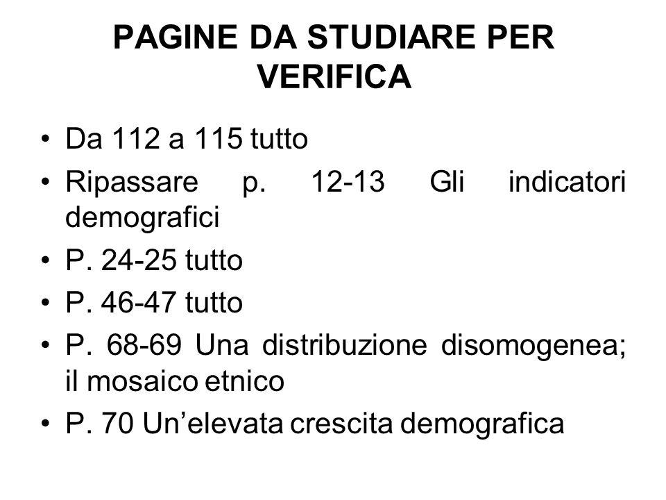 PAGINE DA STUDIARE PER VERIFICA Da 112 a 115 tutto Ripassare p. 12-13 Gli indicatori demografici P. 24-25 tutto P. 46-47 tutto P. 68-69 Una distribuzi