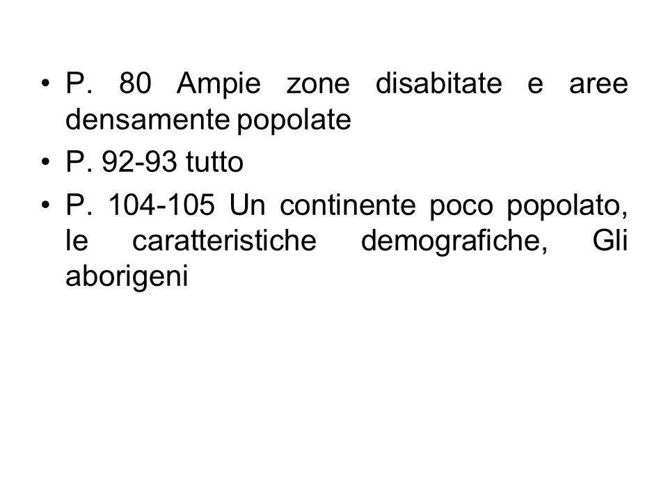 P. 80 Ampie zone disabitate e aree densamente popolate P. 92-93 tutto P. 104-105 Un continente poco popolato, le caratteristiche demografiche, Gli abo