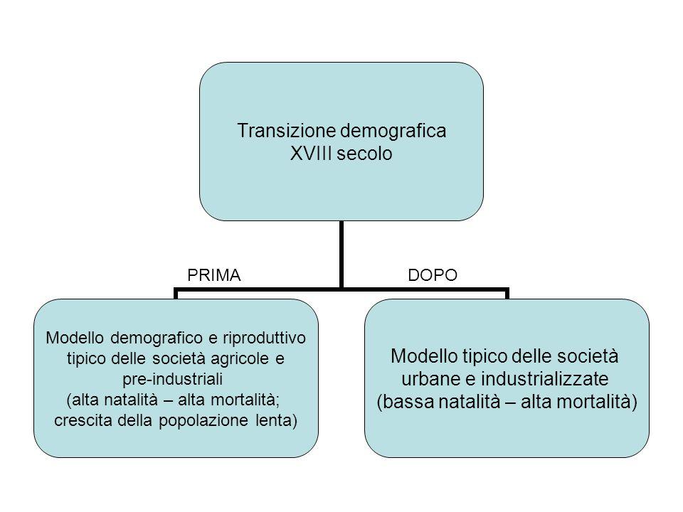 Transizione demografica XVIII secolo Modello demografico e riproduttivo tipico delle società agricole e pre-industriali (alta natalità – alta mortalit