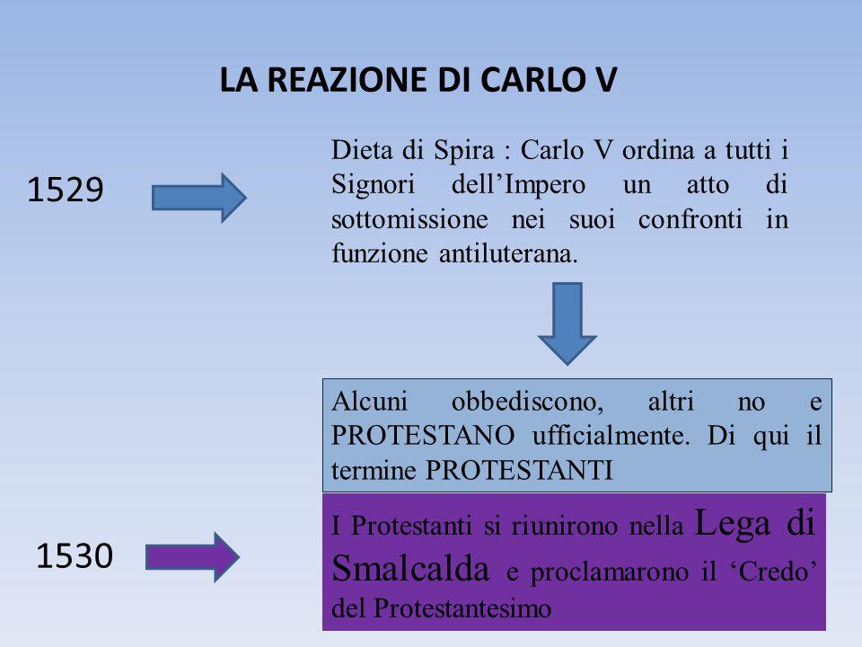 LA REAZIONE DI CARLO V 1529 Dieta di Spira : Carlo V ordina a tutti i Signori dell'Impero un atto di sottomissione nei suoi confronti in funzione anti
