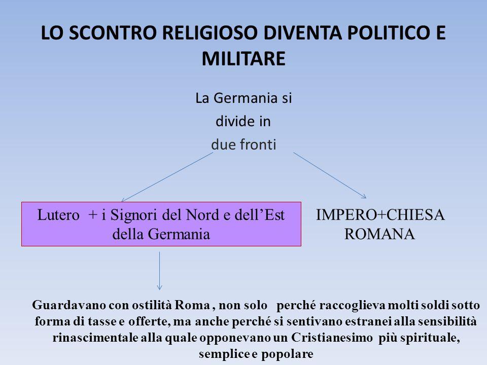 LO SCONTRO RELIGIOSO DIVENTA POLITICO E MILITARE La Germania si divide in due fronti IMPERO+CHIESA ROMANA Lutero + i Signori del Nord e dell'Est della