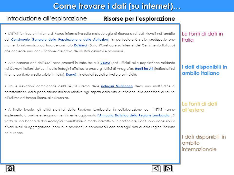 Come trovare i dati (su internet)… I dati disponibili in ambito italiano Risorse per l'esplorazione L'ISTAT fornisce un'insieme di risorse informative