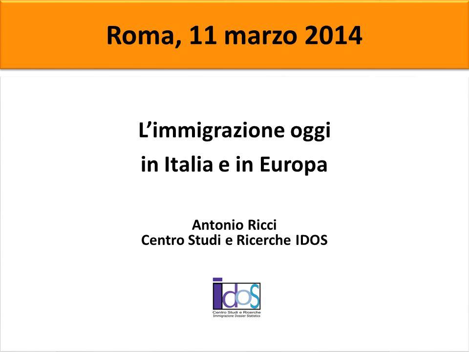 Caritas e Migrantes L'immigrazione oggi in Italia e in Europa Antonio Ricci Centro Studi e Ricerche IDOS L'immigrazione oggi in Italia e in Europa Ant