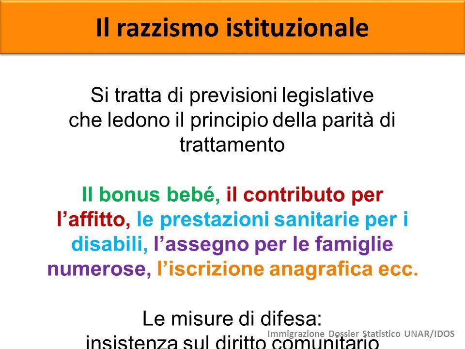 Il razzismo istituzionale Si tratta di previsioni legislative che ledono il principio della parità di trattamento Il bonus bebé, il contributo per l'a