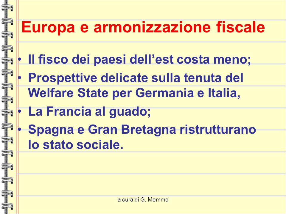 a cura di G. Memmo Europa e armonizzazione fiscale Il fisco dei paesi dell'est costa meno; Prospettive delicate sulla tenuta del Welfare State per Ger