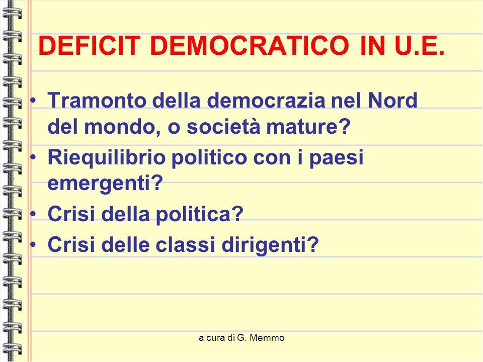 a cura di G. Memmo DEFICIT DEMOCRATICO IN U.E. Tramonto della democrazia nel Nord del mondo, o società mature? Riequilibrio politico con i paesi emerg