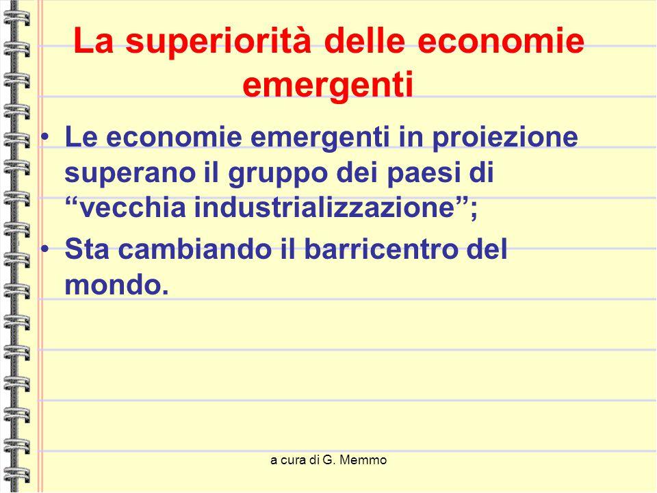 """a cura di G. Memmo La superiorità delle economie emergenti Le economie emergenti in proiezione superano il gruppo dei paesi di """"vecchia industrializza"""