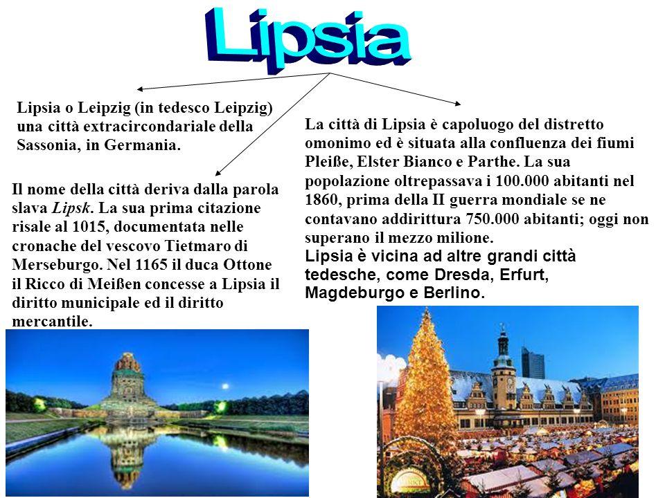 Lipsia o Leipzig (in tedesco Leipzig) una città extracircondariale della Sassonia, in Germania.