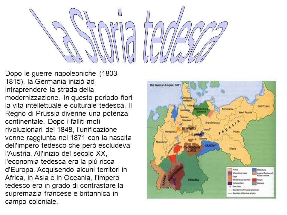 Dopo le guerre napoleoniche (1803- 1815), la Germania iniziò ad intraprendere la strada della modernizzazione.