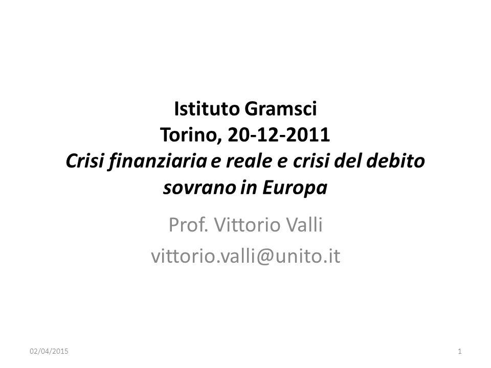 Istituto Gramsci Torino, 20-12-2011 Crisi finanziaria e reale e crisi del debito sovrano in Europa Prof.