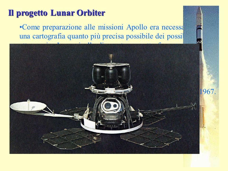 Il progetto Lunar Orbiter Come preparazione alle missioni Apollo era necessario avere una cartografia quanto più precisa possibile dei possibili siti di atterraggio.
