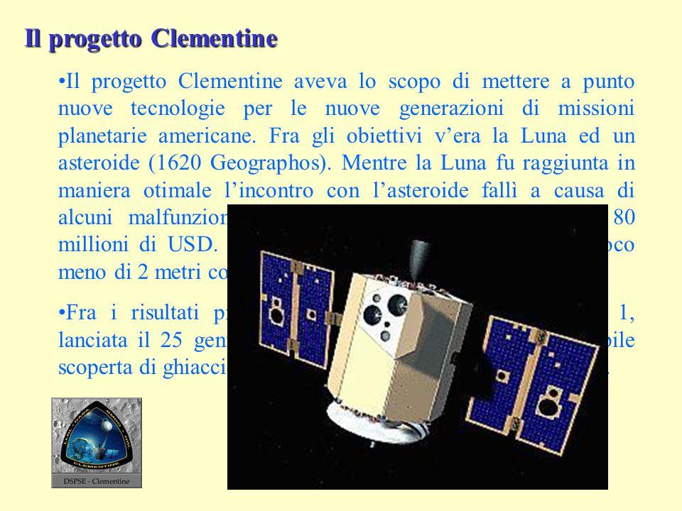 Il progetto Clementine Il progetto Clementine aveva lo scopo di mettere a punto nuove tecnologie per le nuove generazioni di missioni planetarie ameri