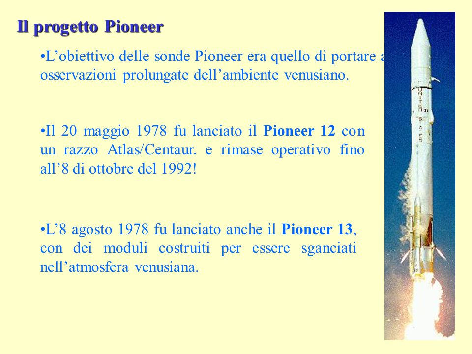 Il progetto Pioneer L'obiettivo delle sonde Pioneer era quello di portare a termine osservazioni prolungate dell'ambiente venusiano.