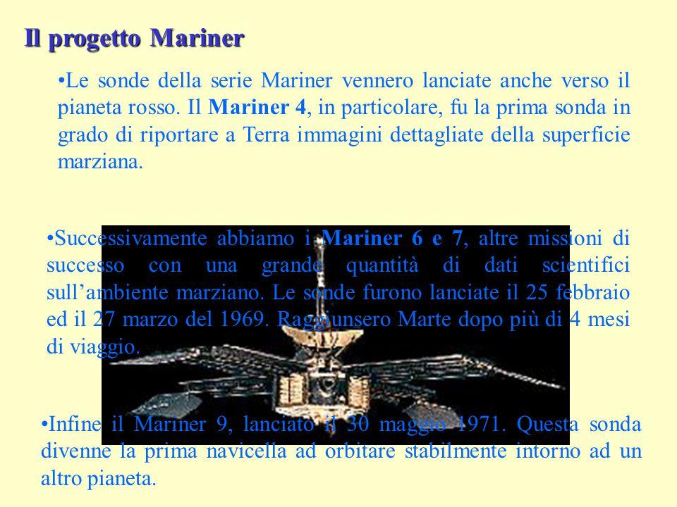 Il progetto Mariner Le sonde della serie Mariner vennero lanciate anche verso il pianeta rosso.
