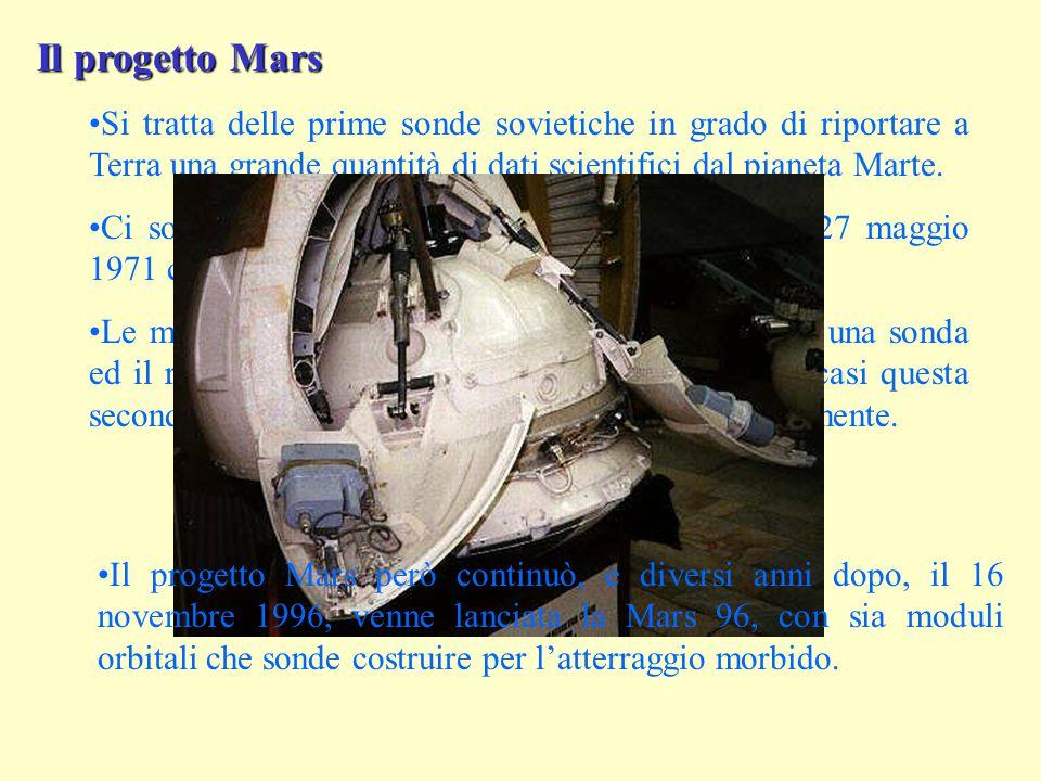 Il progetto Mars Si tratta delle prime sonde sovietiche in grado di riportare a Terra una grande quantità di dati scientifici dal pianeta Marte.