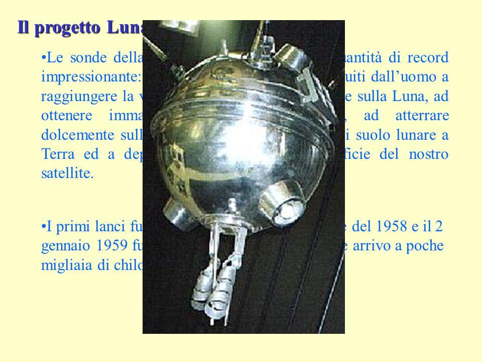 Il progetto Luna Le sonde della serie Luna detengono una quantità di record impressionante: sono stati i primi oggetti costruiti dall'uomo a raggiungere la velocità di fuga, i primi a cadere sulla Luna, ad ottenere immagini della faccia nascosta, ad atterrare dolcemente sulla Luna, a riportare campioni di suolo lunare a Terra ed a depositare un rover sulla superficie del nostro satellite.