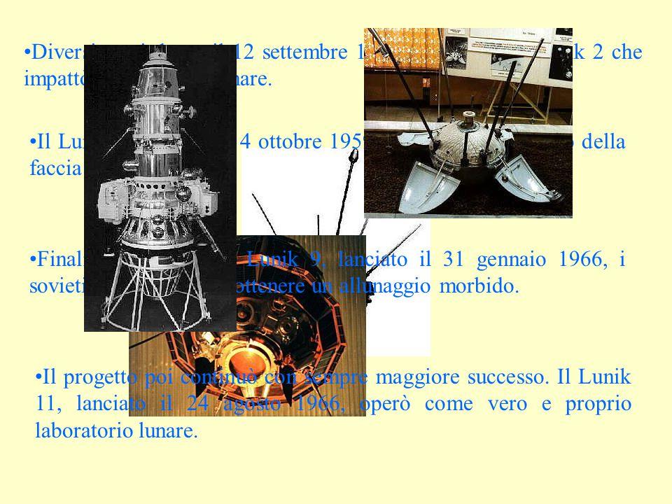 Diversi mesi dopo, il 12 settembre 1959 fu lanciato il Lunik 2 che impattò la superficie lunare. Il Lunik 3, lanciato il 4 ottobre 1959 ci riportò alc