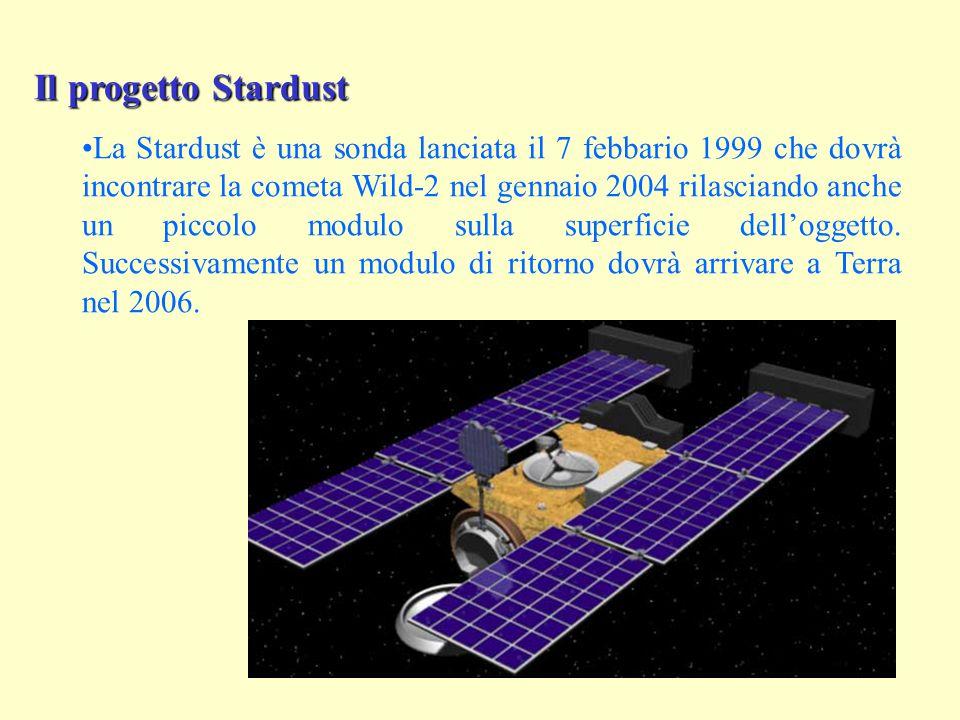 Il progetto Stardust La Stardust è una sonda lanciata il 7 febbario 1999 che dovrà incontrare la cometa Wild-2 nel gennaio 2004 rilasciando anche un piccolo modulo sulla superficie dell'oggetto.