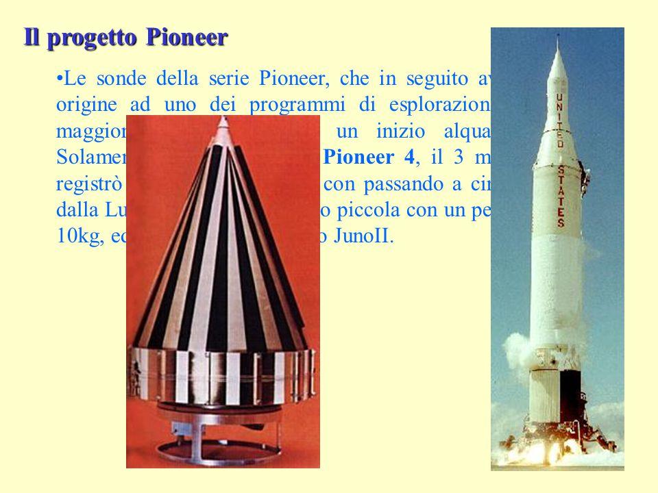 Il progetto Pioneer Le sonde della serie Pioneer, che in seguito avrebbero dato origine ad uno dei programmi di esplorazione spaziale di maggiore successo, ebbero un inizio alquanto difficile.