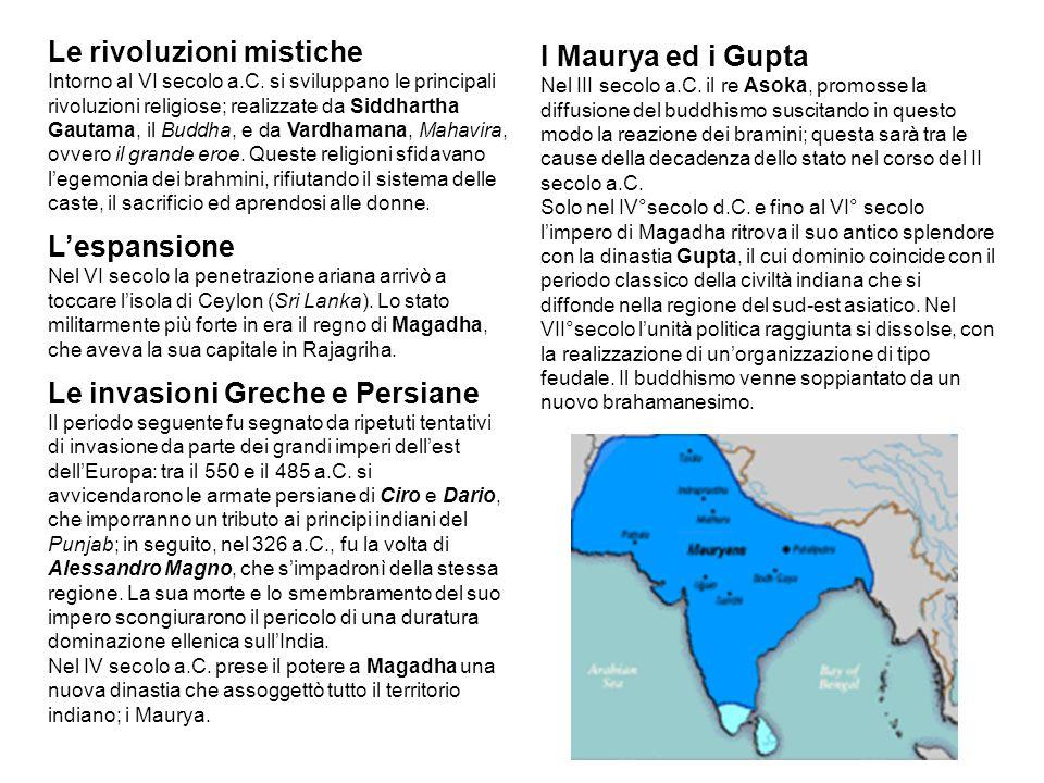 Le rivoluzioni mistiche Intorno al VI secolo a.C. si sviluppano le principali rivoluzioni religiose; realizzate da Siddhartha Gautama, il Buddha, e da